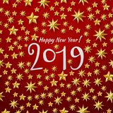 New year with golden stars. Vector illustration of Happy New year 2019 background with golden stars confetti. Gold and red colors. Hand lettered years number vector illustration