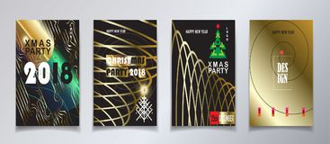 2018 Christmas party invitation gold set. 2018 vector illustration, Happy new year and christmas winter holiday party invitation, brochure, poster, flyer Stock Photos