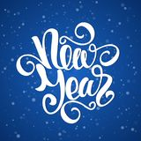 Vector illustration: Happy New Year elegant modern brush lettering on blue snowflake background.  Royalty Free Stock Photography