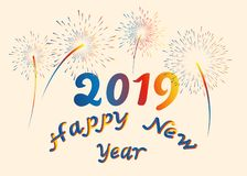 Vector illustration happy New year font with letters art design 2019 colorful fireworks. 3D lettering style rendering bubble font. stock illustration