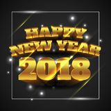 Happy New Year 2018 Gold with Black Background - Vector Illustration vector illustration