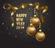 Vector illustration of happy new year 2019 gold and black collors place for text christmas balls royalty free illustration
