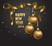 Vector illustration of happy new year 2018 gold. And black collors place for text christmas balls 2018 Royalty Free Stock Photos