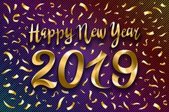 Vector illustration of happy new year 2019 gold and black collors place for text. Inflatable Gold Numbers on the Background of the. Black Stone Wall New Year vector illustration