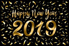 Vector illustration of happy new year 2019 gold and black collors place for text. Inflatable Gold Numbers on the Background of the. Black Stone Wall New Year royalty free illustration