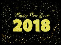 Vector illustration of happy new year 2018. gold and black collors. Words with congratulations about the happy new year. Two thousend eighteen Royalty Free Stock Images