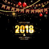 Vector illustration of happy new year 2018. Gold and black colors. Vector illustration Royalty Free Stock Photography