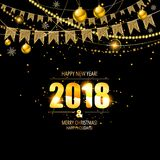 Vector illustration of happy new year 2018. Gold and black colors. Vector illustration Stock Photo