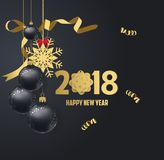 Vector illustration of happy new year 2018 gold and black. Colors place for text christmas balls royalty free illustration