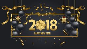 Vector illustration of happy new year 2018 gold and black colors. Place for text christmas balls Stock Image