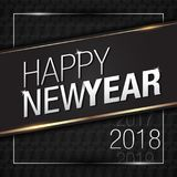 Vector Illustration of Happy New Year 2018 Gold with Black Pattern Colors Royalty Free Stock Photos