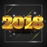 Happy New Year 2018 Gold with Isolated Black Background - Vector Illustration. Vector Illustration of Happy New Year 2018 Gold Isolated with Black Background royalty free illustration