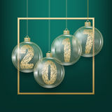 Vector illustration of happy new year. Golden numerals 2017 into Glass Christmas balls on dark green background. Vector festive illustration with golden frame Stock Photo