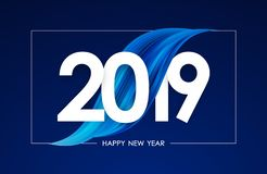 Vector illustration: Happy New Year 2019. Greeting card with blue abstract acrylic paint stroke shape. Trendy design. Vector illustration: Happy New Year 2019 stock illustration