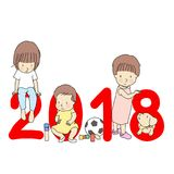 Vector illustration of 2018 happy new year greeting card design. Little kids with red number 2018, building wooden block, football vector illustration