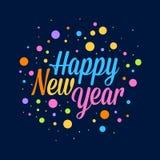 Happy New Year Background Polkadots. Vector illustration of happy new year holiday background with colorful polkadots Royalty Free Stock Photo
