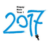2017 vector illustration, Happy New Year inscription made with b. Rushstrokes drawn with painting brush vector illustration