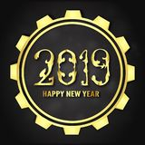 Vector illustration for Happy new year 2019. It's year of the pi. G. Abstract template with golden design for ceremony the end-of-year royalty free illustration