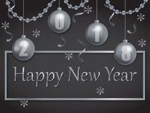 Happy new year 2018 silver and black Royalty Free Stock Photos