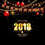 Vector illustration of happy new year 2018. Gold and black colors. Vector illustration Royalty Free Stock Photos