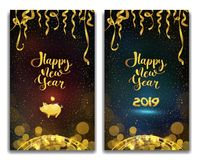 Vector illustration of happy new year 2019 on a violet and blue background text congratulations, golden ribbons and tinsel, piggy. Bank stock illustration