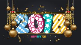 Vector illustration of happy new year 2018 wallpaper gold balls and black colorful Royalty Free Stock Images