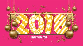 Vector illustration of happy new year 2018 wallpaper gold balls and colorful Royalty Free Stock Image