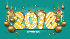 Vector illustration of happy new year 2018 wallpaper gold balls and colorful Royalty Free Stock Photo
