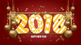 Vector illustration of happy new year 2018 wallpaper gold balls and colorful Stock Images