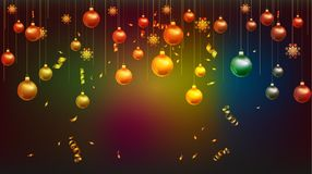 Vector illustration of happy new year 2019 wallpaper gold and black colors place for text christmas balls stock illustration