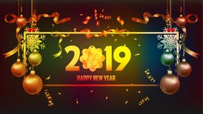 Vector illustration of happy new year 2019 wallpaper gold and black colors place for text christmas balls vector illustration