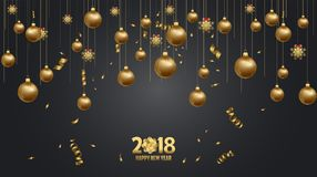 Vector illustration of happy new year 2018 wallpaper. Vector illustration of happy new year 2018 wallpaper gold and black colors place for text christmas balls Royalty Free Stock Photography
