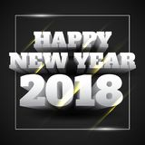 Vector Illustration of Happy New Year 2018 White Text with Black Background. Vector Illustration of Happy New Year 2018 White Text Isolated with Black Background Royalty Free Stock Photos