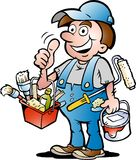 Vector illustration of an happy Painter Handyman. Hand-drawn Vector illustration of an happy Painter Handyman, giving thumb up Royalty Free Stock Photography