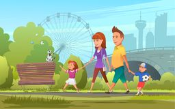 Cheerful family walking in park. Vector illustration of happy parents with children walking together in green park. Vector illustration of happy parents with Royalty Free Stock Photo