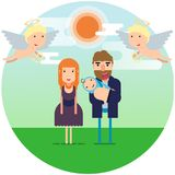 Vector illustration. Happy parents with a newborn child under the sky with angels. royalty free illustration