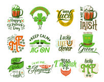 Vector illustration of happy Patrick day logo set Stock Image