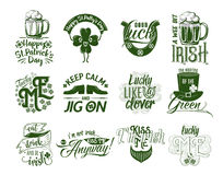 Vector illustration of happy Patrick day logo set Royalty Free Stock Photography