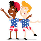 Vector illustration of happy patriotic cartoon Americans wearing clothes with stars and stripes celebrating 4th of July. Vector illustration of happy patriotic royalty free illustration