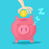 Vector illustration of a happy piggy Bank and hand with a Golden coin Royalty Free Stock Images