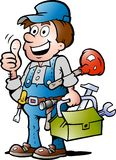 Vector illustration of an happy Plumber. Hand-drawn Vector illustration of an happy Plumber Handyman, giving thumb up stock illustration
