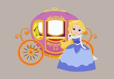 Illustration of happy princess with royal carriage Royalty Free Stock Photography