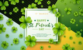 Vector illustration of Happy Saint Patricks Day with Green Falling Clover on Abstract Background. Irish Beer Festival Royalty Free Stock Image