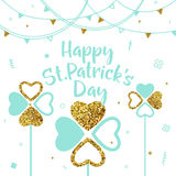 Vector illustration of happy saint Patricks day greeting card Stock Images