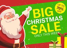 Vector illustration with happy Santa Claus. Christmas sale Royalty Free Stock Images