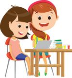 Happy Schoolgirls Studying Together At Desk royalty free illustration