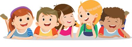Happy smiling kids lying on the floor vector illustration