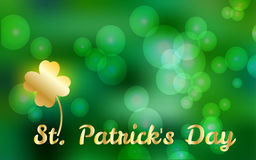 Vector Illustration of Happy St. Patrick`s Day, Spring Blur Bokeh Background for banner, card, flyer template Stock Photos