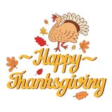 Vector Illustration of a Happy Thanksgiving Celebration Design. With funny Turkey and Autumn Leaves Stock Images