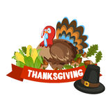 Vector Illustration of a Happy Thanksgiving Celebration Design. Royalty Free Stock Image
